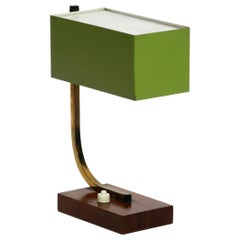 Exceptional Green Italian Mid-Century Modern Metal Bedside Lamp with Wooden Base