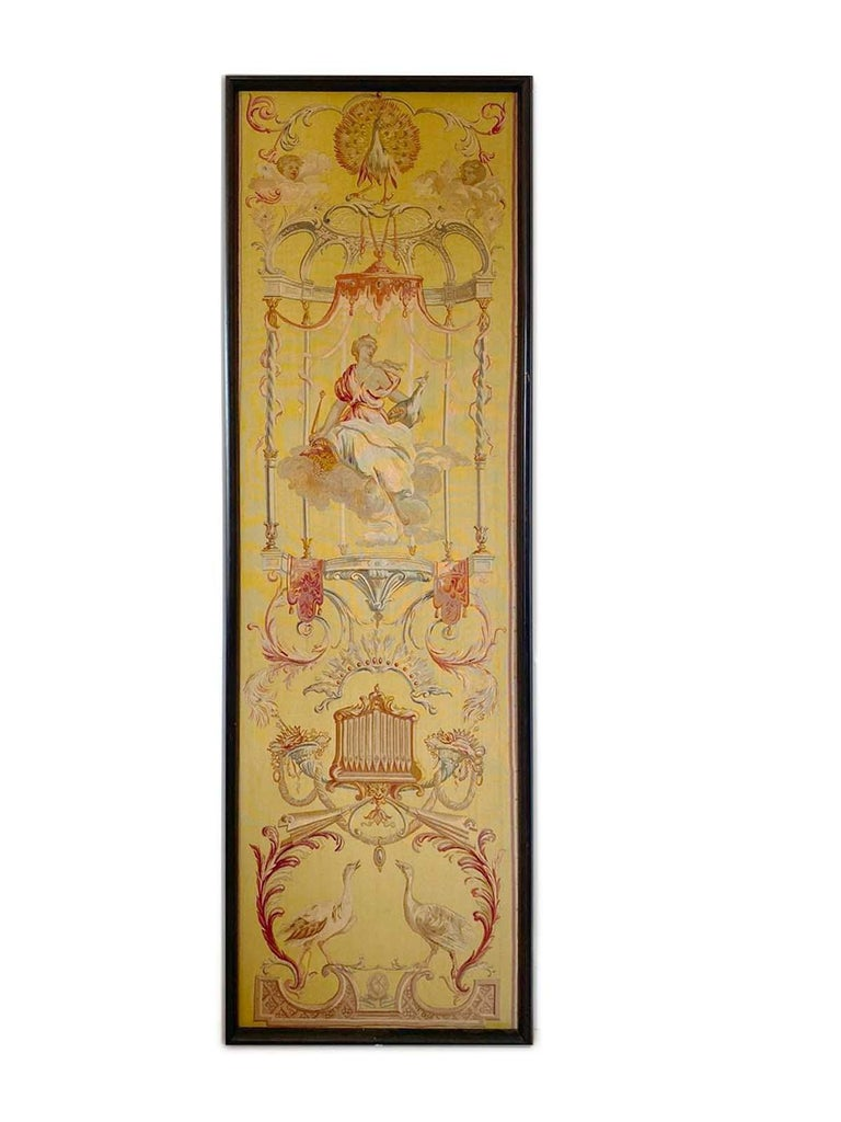 Exceptional group of 5 Aubusson tapestries  Period: Beginning of 19th century  Year: circa 1810-1820   Subject: seasons   Material: Wool and silk with wooden frame  Dimensions of each panel: 58 x 205 cm   Origin: Aubusson Manufacture,