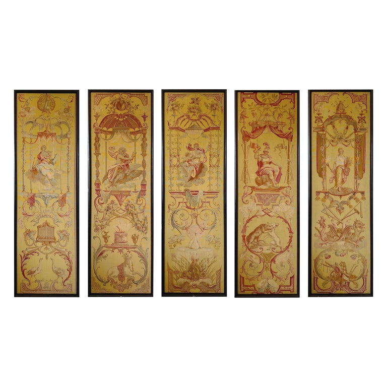 Exceptional Group of 5 Aubusson Tapestries, Perfect Condition For Sale