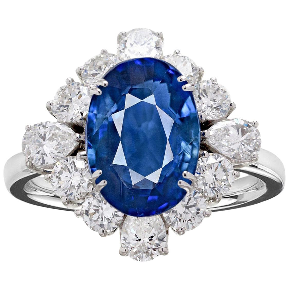 Exceptional GRS Certified 3 Carat Sri-Lanka Blue Sapphire Cocktail Ring