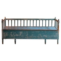 Exceptional Gustavian Painted Bench Settle, Sweden, 19th Century, circa 1800