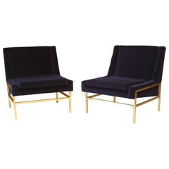 Brass and Navy Velvet Lounge Slipper Chairs attributed to Harvey Probber