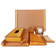 Exceptional Hermès 8 Pieces Desk Set in Lacquered Wood RARE