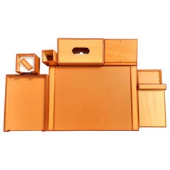 Exceptional Hermès 9 Pieces Desk Set in Lacquered Wood RARE