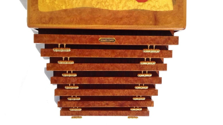 Exceptional Hermès Drawer to store scarves or Jewelry In Wood Inlaid RARE For Sale 6