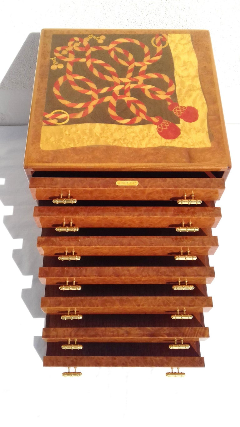 Exceptional Hermès Drawer to store scarves or Jewelry In Wood Inlaid RARE For Sale 7