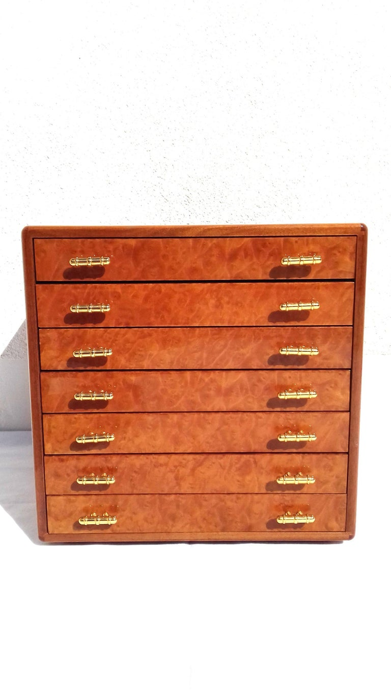 Exceptional Hermès Drawer to store scarves or Jewelry In Wood Inlaid RARE For Sale 10