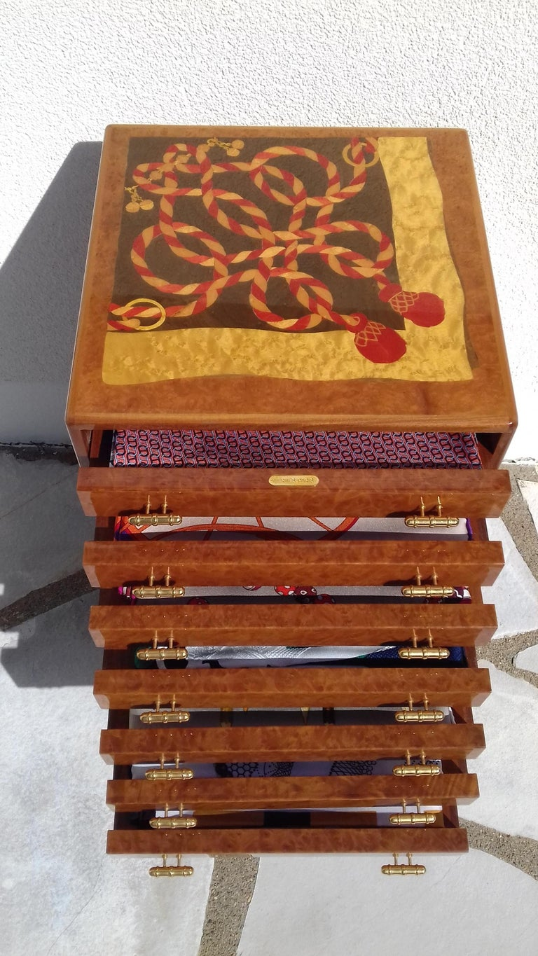 Rare and Gorgeous Authentic Hermès Drawer  To store scarves, but can be used for jewelry as well  Please notice: Scarves on picture are for display purpose only, not included in sale  Made of Wood (burr of elm or walnut ?), inlaid trimmings on