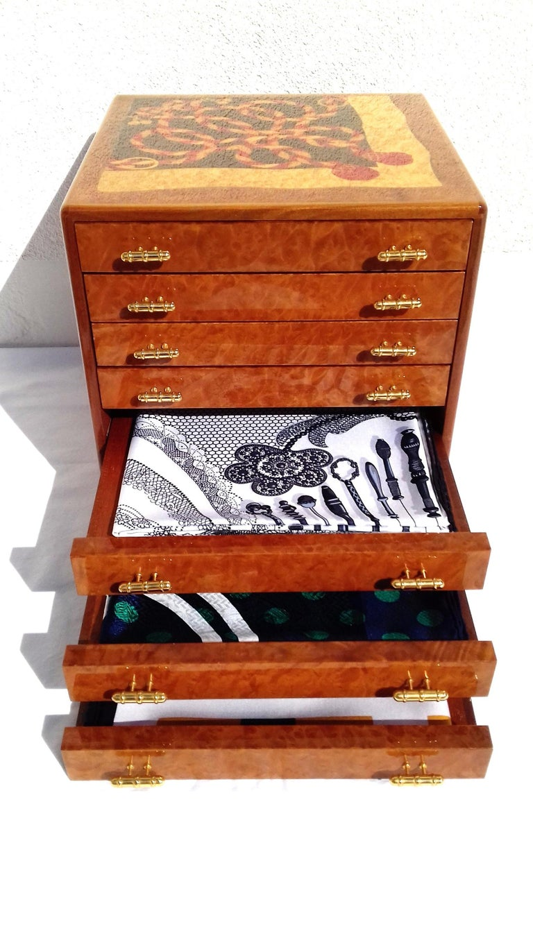 Exceptional Hermès Drawer to store scarves or Jewelry In Wood Inlaid RARE In Excellent Condition For Sale In ., FR