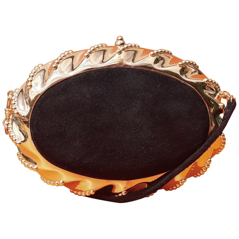 Exceptional Hermès Evening Clutch Bag Minaudière Doblis and Golden Hdw RARE For Sale
