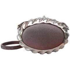 Exceptional Hermès Evening Clutch Bag Minaudière Shagreen Grey Silver Tone Metal