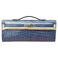 Exceptional Hermès Kelly Cut Pochette Clutch Crocodile Bleu Brighton Phw