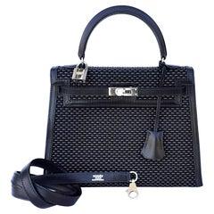 Exceptional Hermès Kelly Sellier Bag Black Crinoline and Silver 25 cm RARE