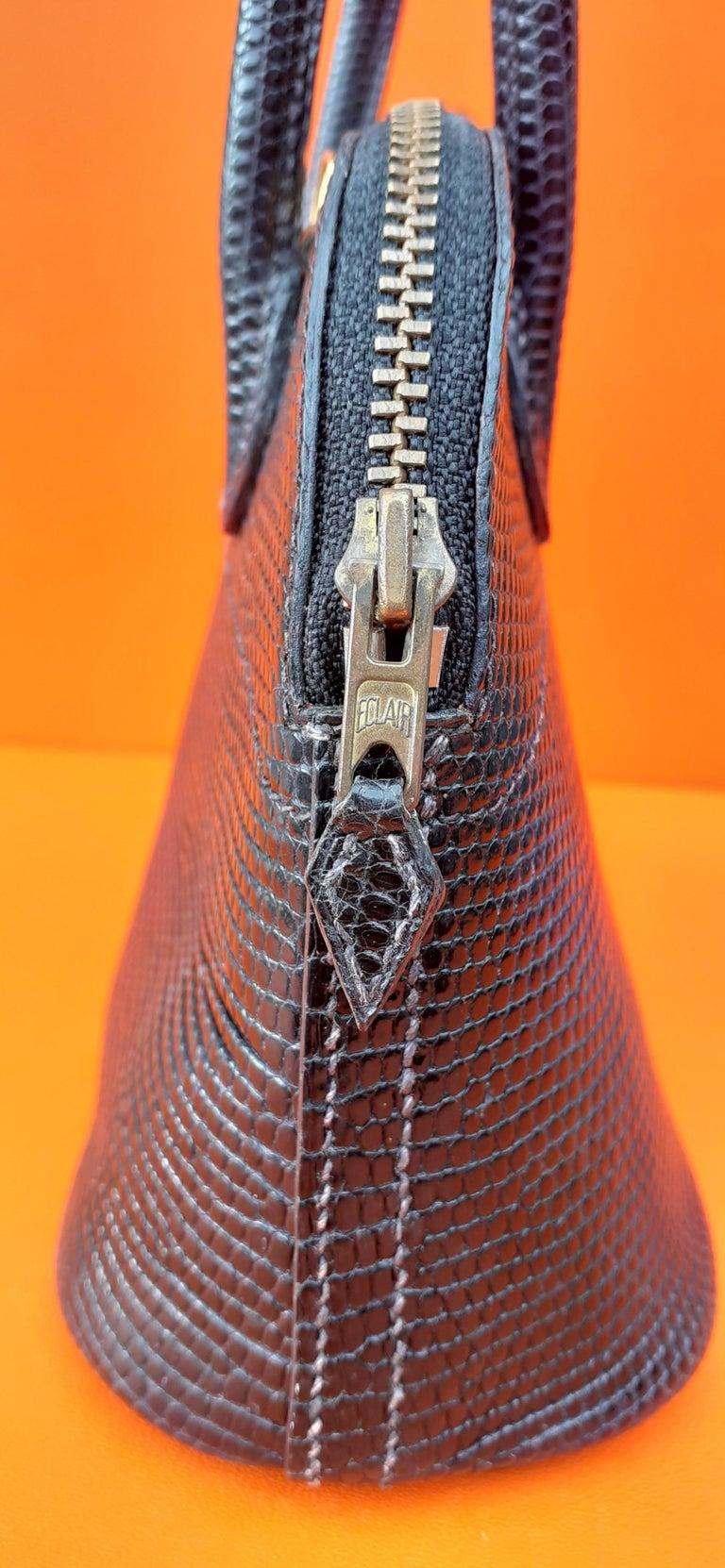 Exceptional Hermès Micro Bolide Bag Black Lizard Golden Hdw 16 cm RARE For Sale 7