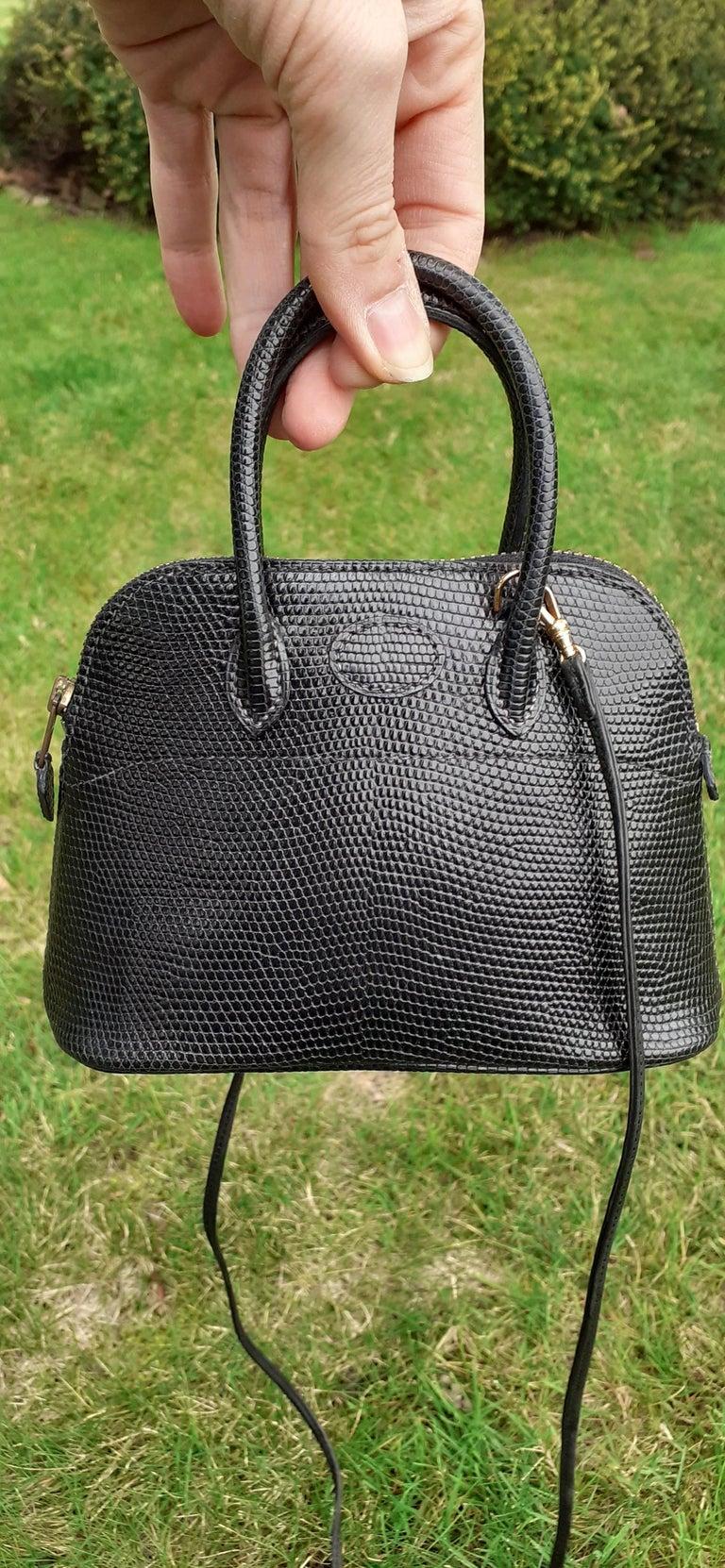 Exceptional Hermès Micro Bolide Bag Black Lizard Golden Hdw 16 cm RARE For Sale 11