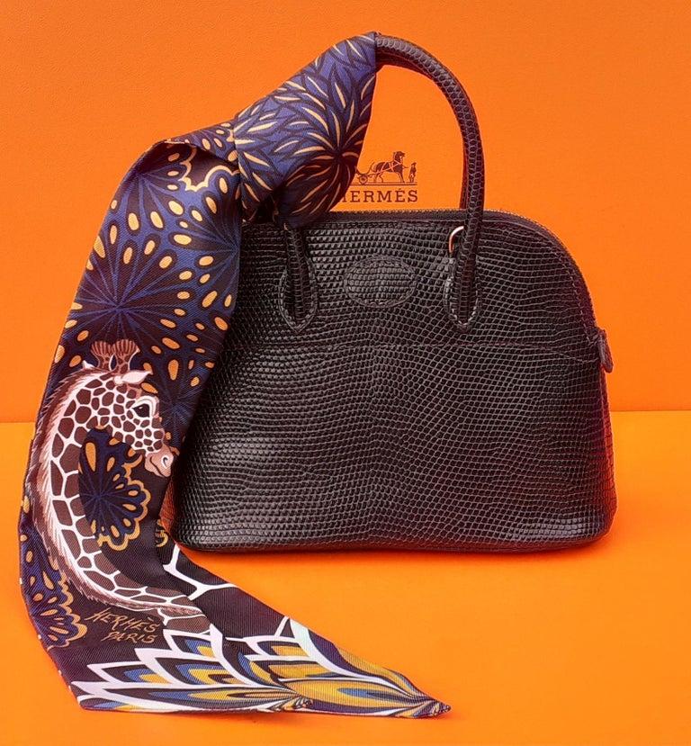 Exceptional Hermès Micro Bolide Bag Black Lizard Golden Hdw 16 cm RARE For Sale 12