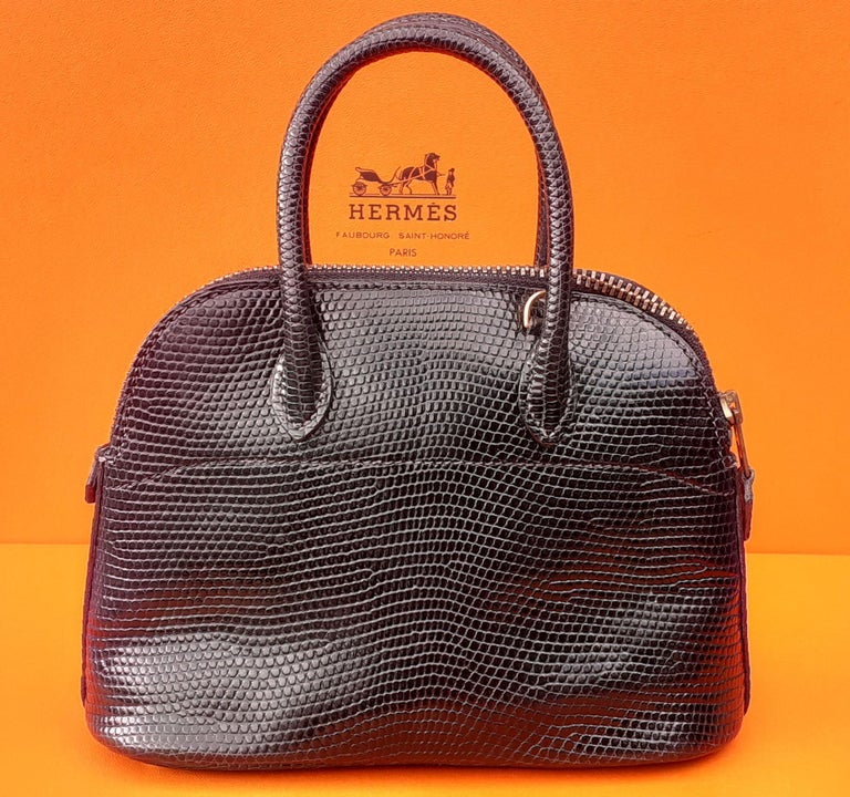 Women's Exceptional Hermès Micro Bolide Bag Black Lizard Golden Hdw 16 cm RARE For Sale