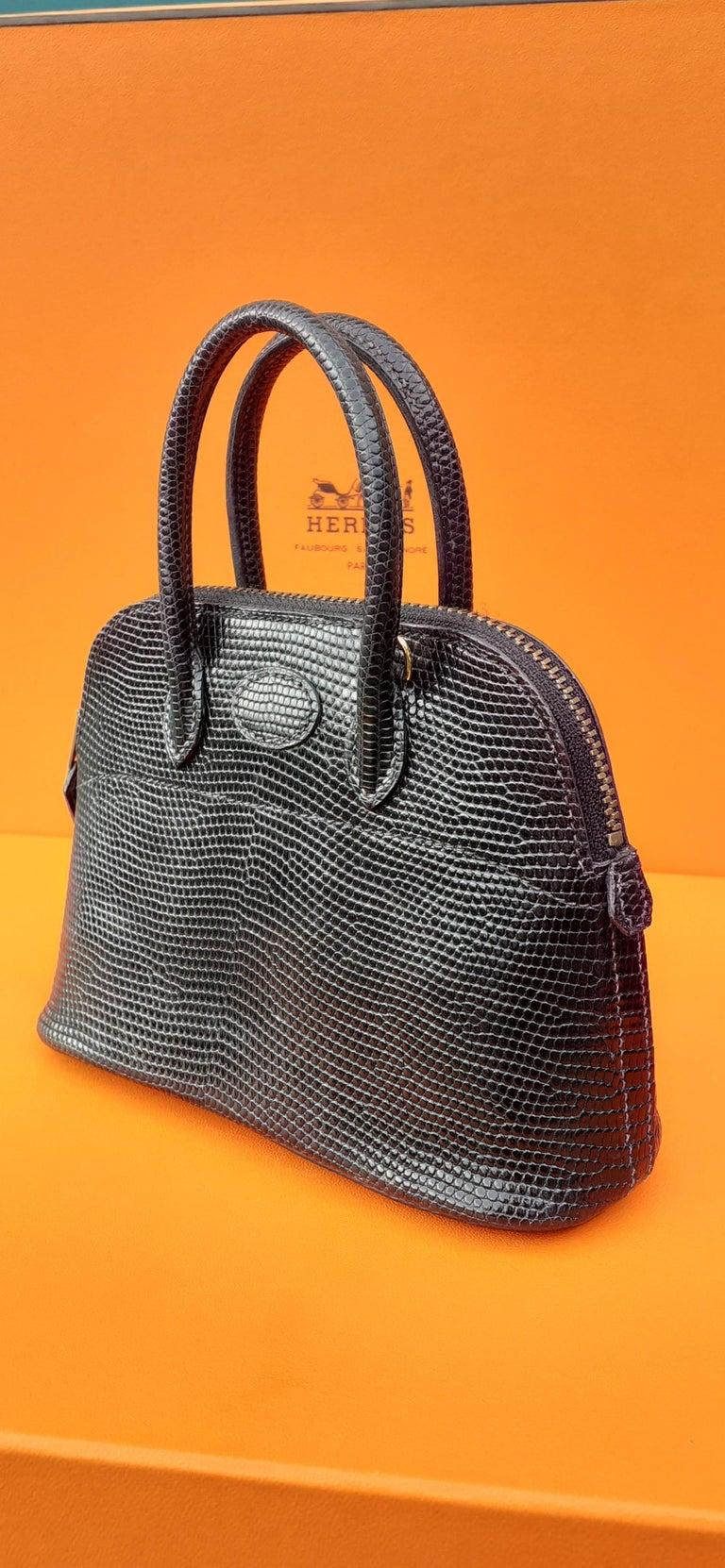 Exceptional Hermès Micro Bolide Bag Black Lizard Golden Hdw 16 cm RARE For Sale 2
