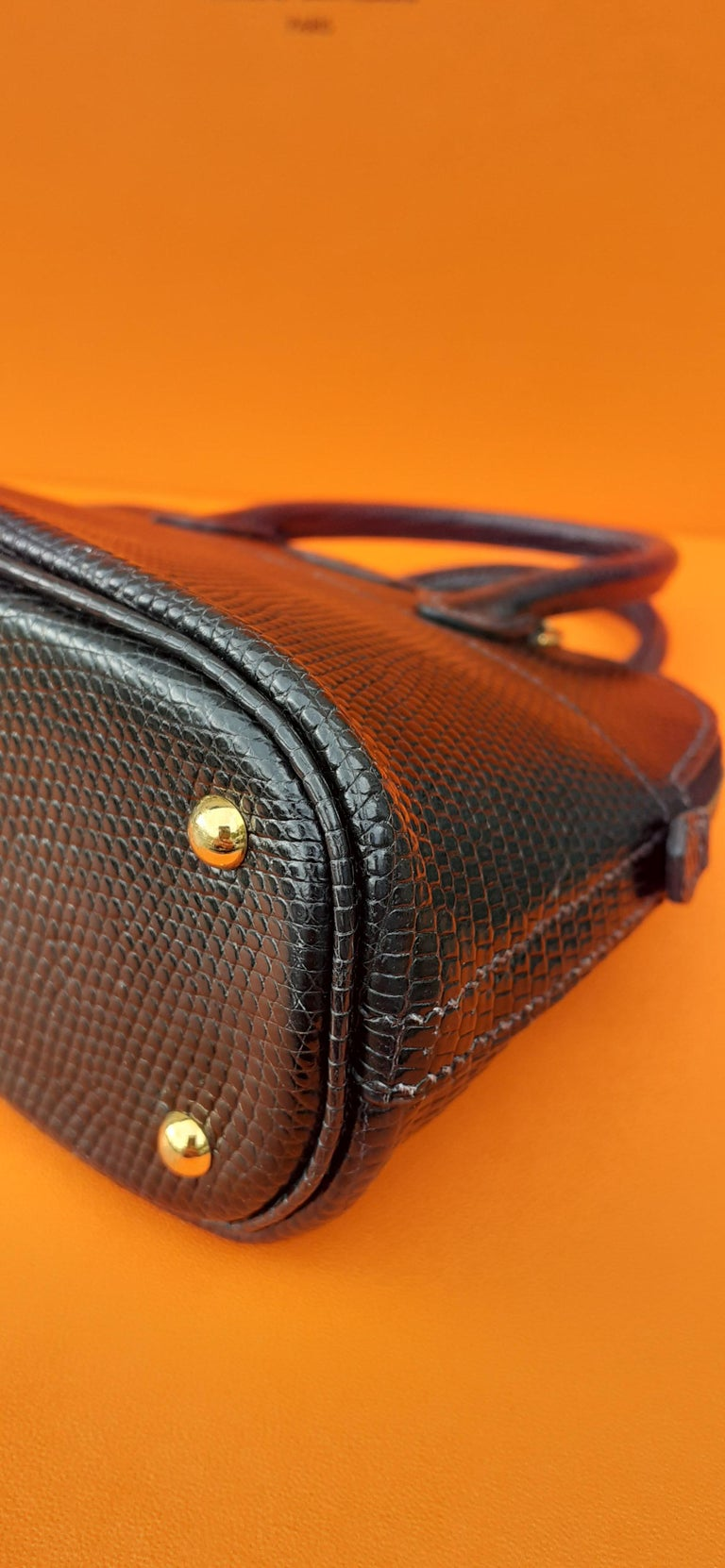 Exceptional Hermès Micro Bolide Bag Black Lizard Golden Hdw 16 cm RARE For Sale 4