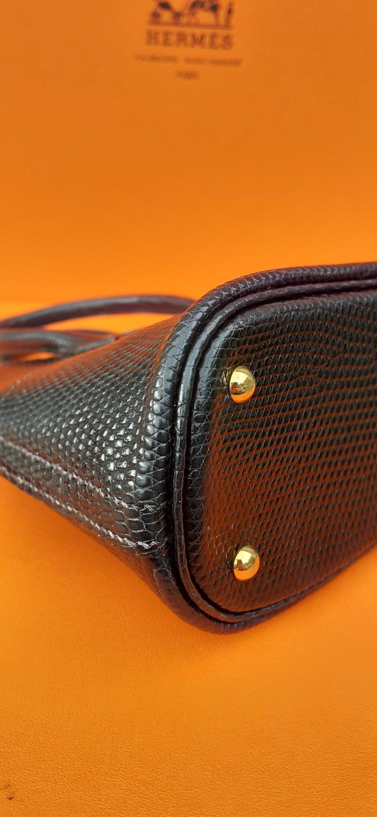 Exceptional Hermès Micro Bolide Bag Black Lizard Golden Hdw 16 cm RARE For Sale 5