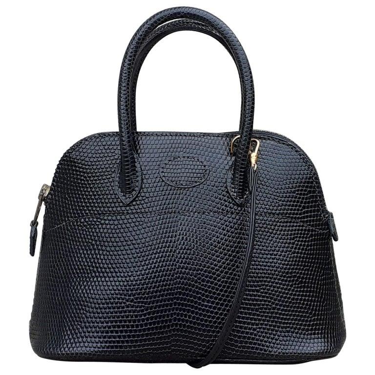 Exceptional Hermès Micro Bolide Bag Black Lizard Golden Hdw 16 cm RARE For Sale