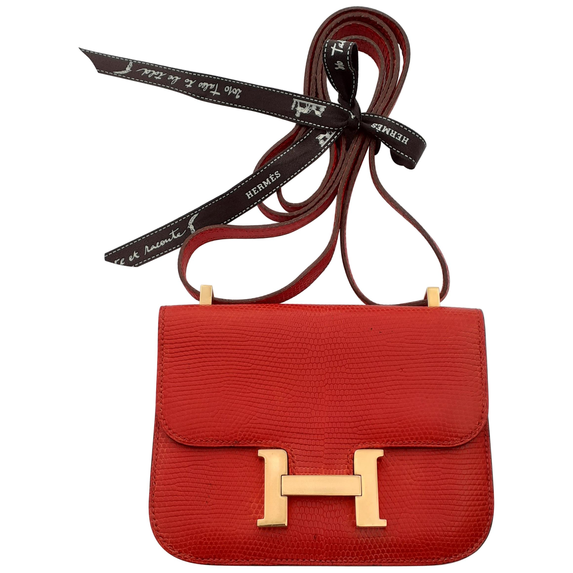 Exceptional Hermès Mini Micro Constance Red Lizard Gold Plated Hdw Rare