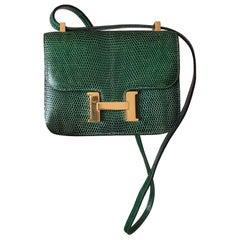 Exceptional Hermès Mini Micro Constance Shiny Emerald Green Lizard Ghw RARE