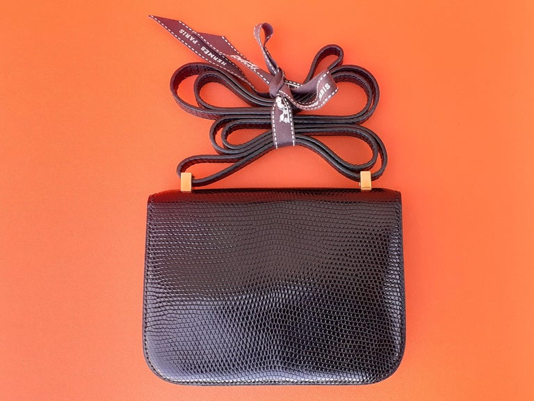 Exceptional Hermès Mini Micro Shiny Constance Black Lizard Bag Ghw 13,5 cm In Excellent Condition In ., FR