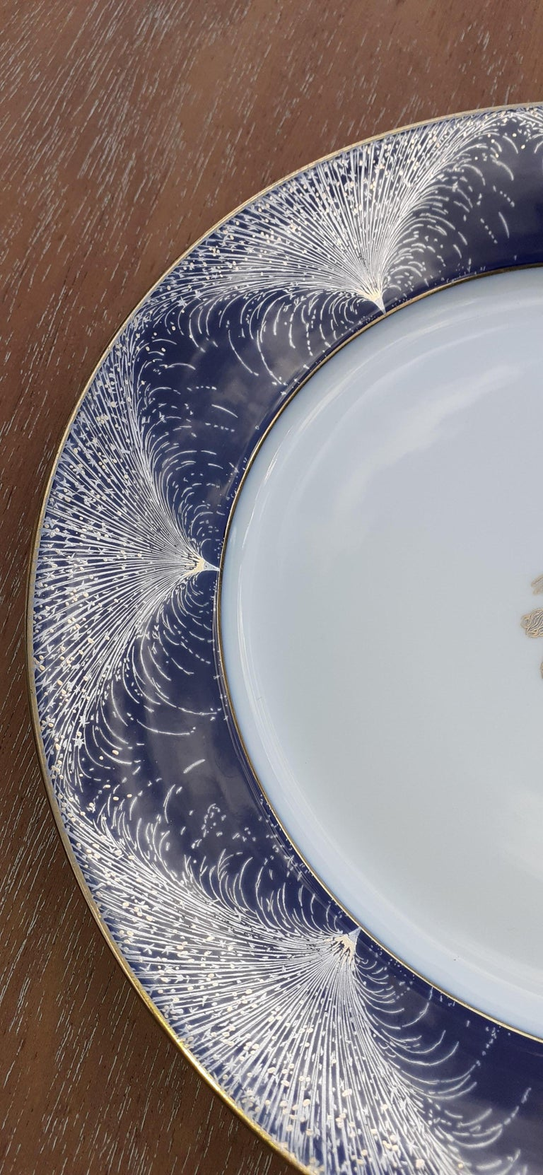 Blue Exceptional Hermès Plate Dish Feux d'Artifice 150th Anniversary Only 200 Pieces For Sale