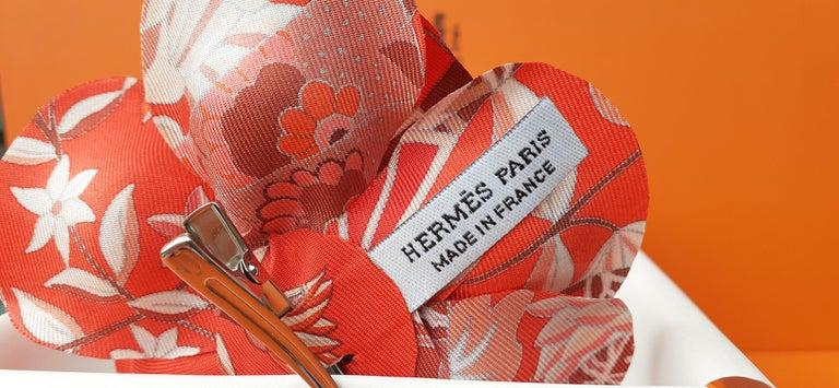 Exceptional Hermès Rare Silk Scarf Brooch Charm La Fleur Red 7