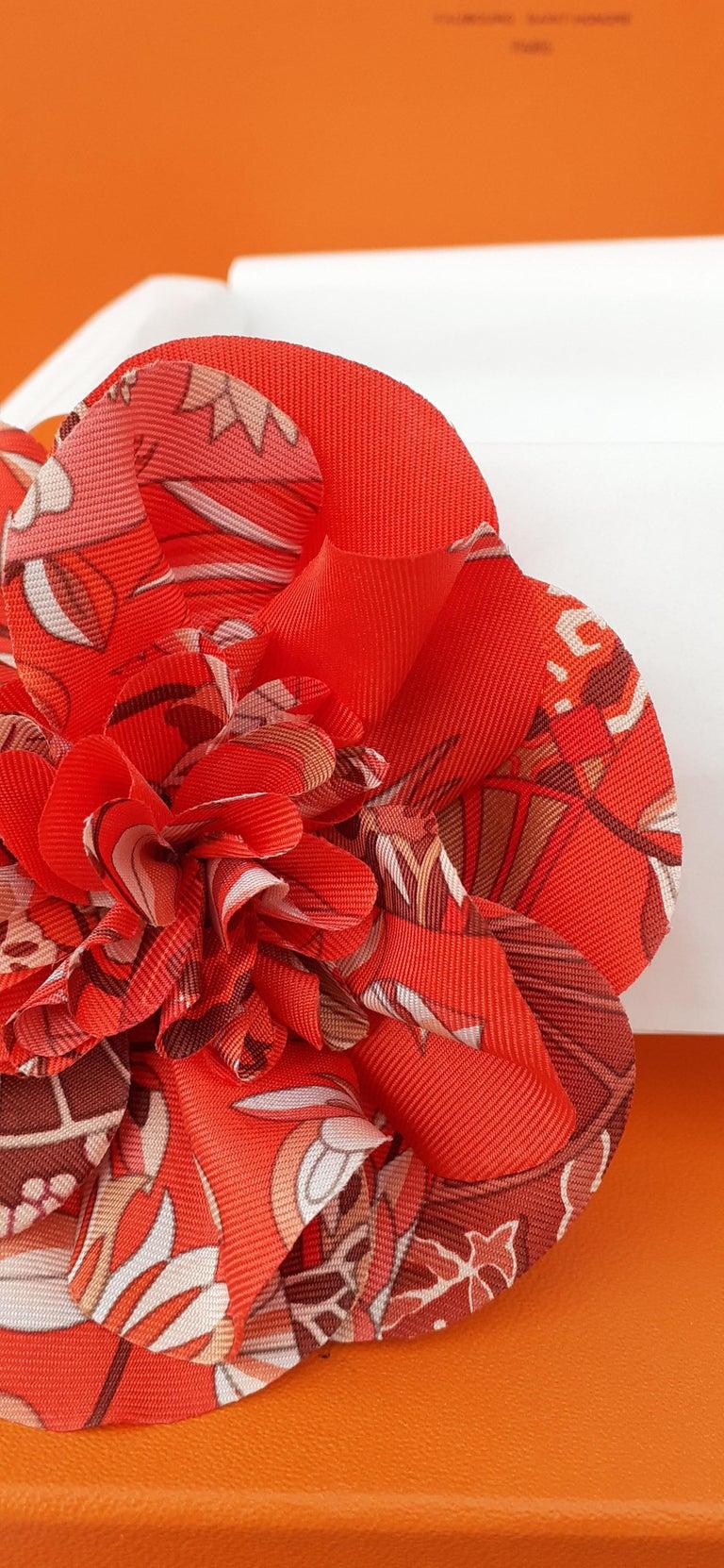 Exceptional Hermès Rare Silk Scarf Brooch Charm La Fleur Red 1