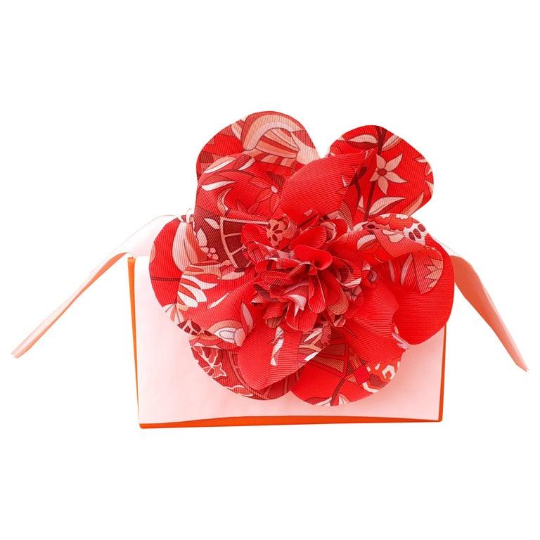 Exceptional Hermès Rare Silk Scarf Brooch Charm La Fleur Red