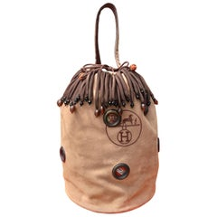 Exceptional Hermès Sac Seau Bucket Bag Suede Dustbag Perles Du Kenya RARE