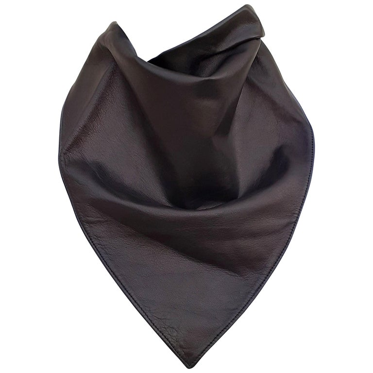 Exceptional Hermès Scarf Col Fichu Lambskin Leather Rodeo Bandana Texas RARE For Sale