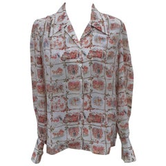 Exceptional Hermès Shirt La Comtesse de Ségur 100% Silk Size 40 Medium