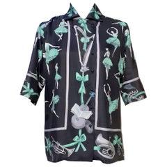 Exceptional Hermès Shirt La Danse Ballerinas Pattern In Silk Size 40 Medium