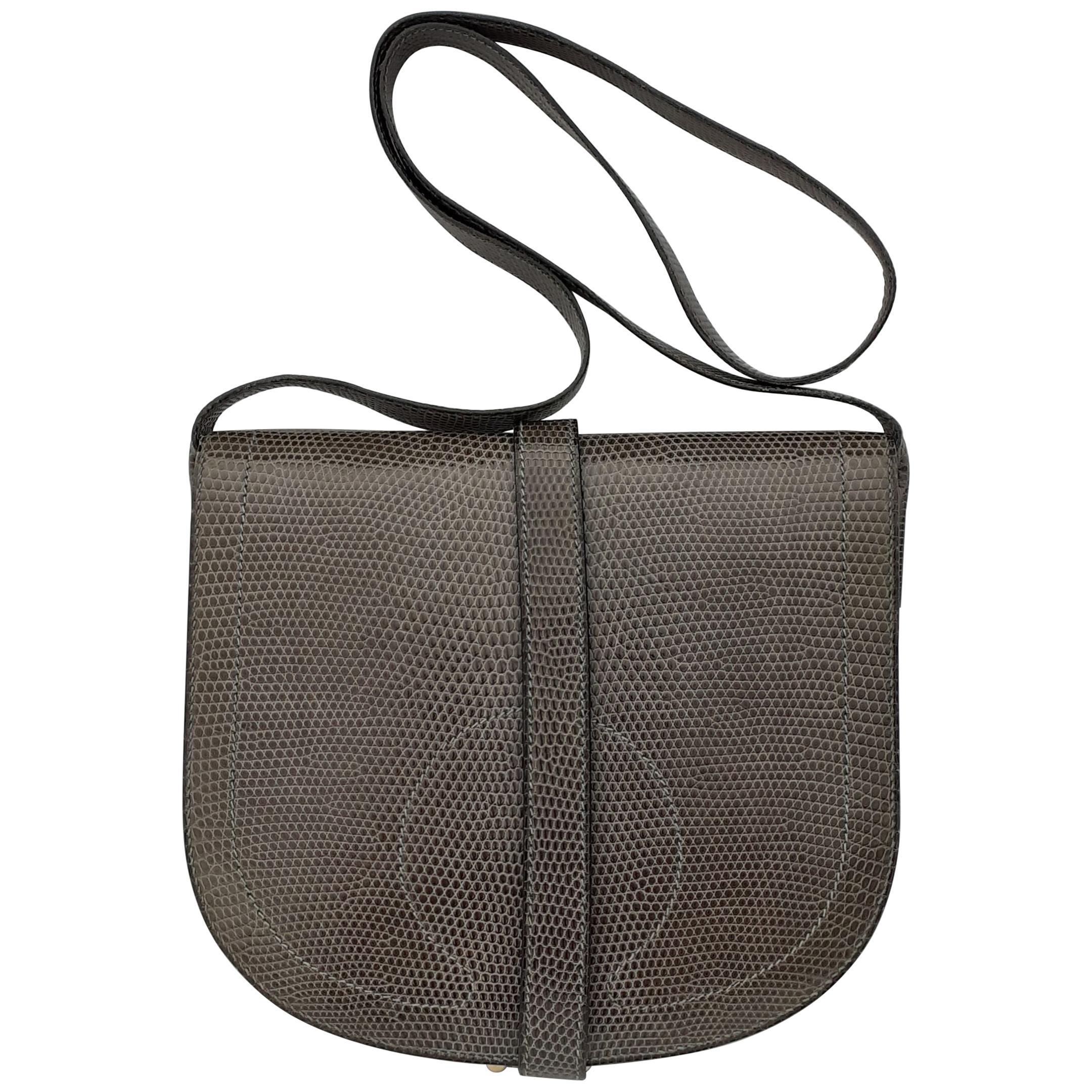 Exceptional Hermès Shoulder Bag Purse Green-Grey Lizard Gold Hdw RARE