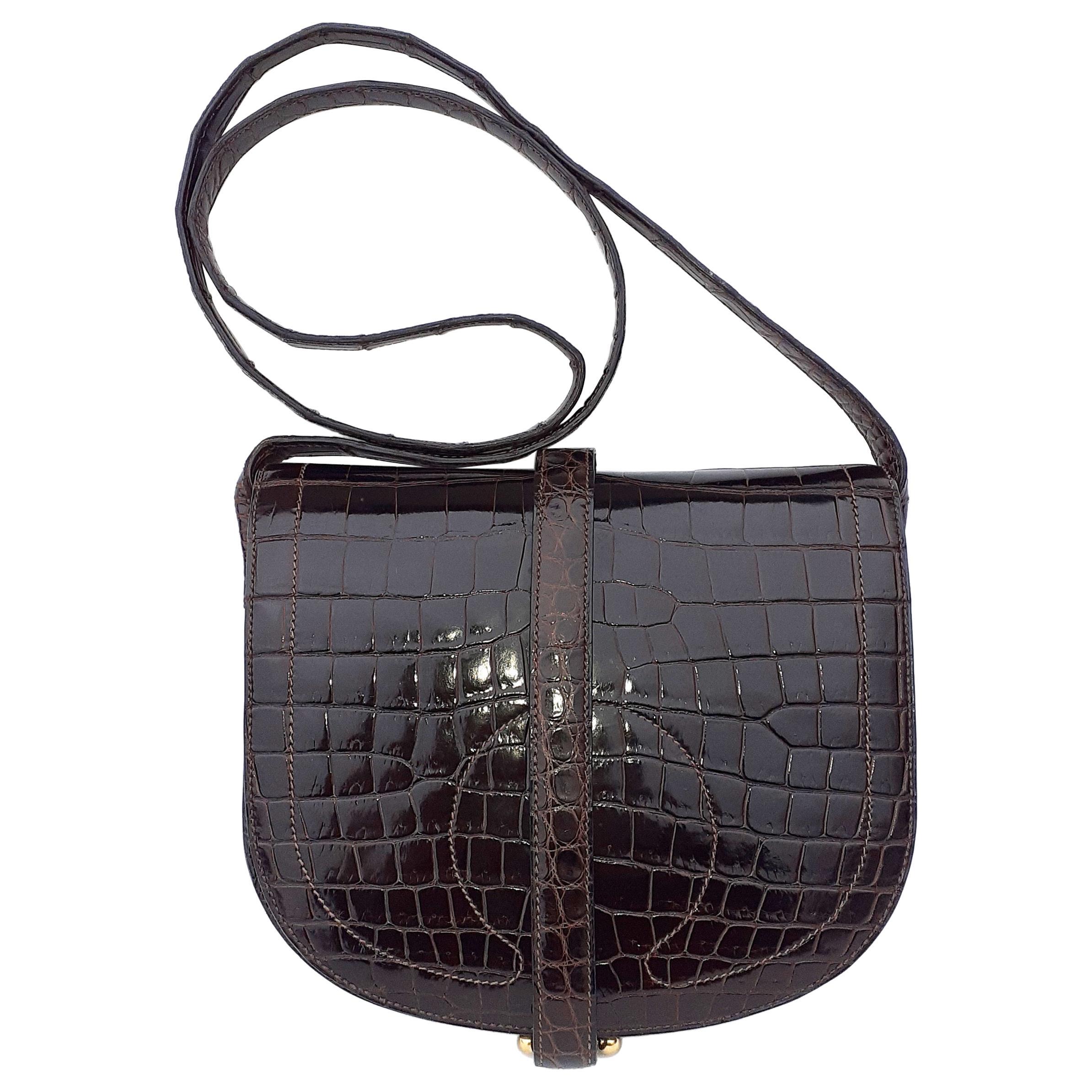 Exceptional Hermès Shoulder Bag Shiny Brown Crocodile Pororus Gold Hdw RARE