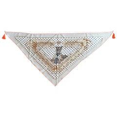 Exceptional Hermès Silk Scarf Tigre Royal Pointu With Tassels Rare
