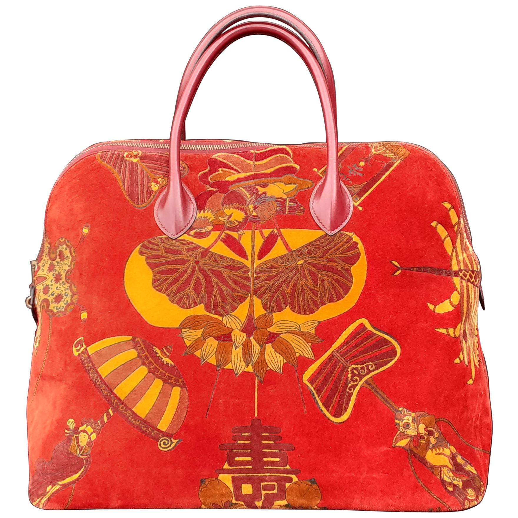 Exceptional Hermès Vintage Bolide Bag Velvet Leather Soies Volantes Unique Piece