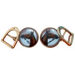 Exceptional Hermès Vintage Essex Crystal Gold Cufflinks Horse Stirrup Pattern