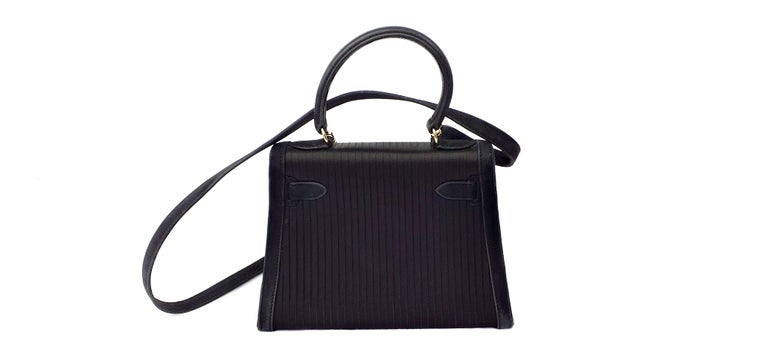 Black Exceptional Hermès Vintage Mini Kelly Sellier Bag Satin and Doblis Gold Hdw 20cm For Sale