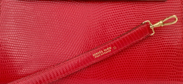 Exceptional Hermès Vintage Mini Kelly Sellier Bag Shiny Red Lizard Gold Hdw 20cm For Sale 12