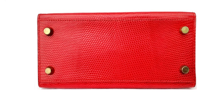 Exceptional Hermès Vintage Mini Kelly Sellier Bag Shiny Red Lizard Gold Hdw 20cm For Sale 1