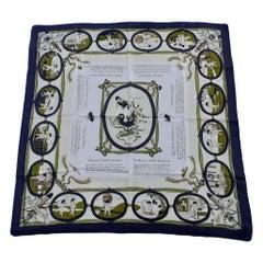 Exceptional Hermès Vintage Silk Scarf Les Amours Hugo Grygkar 1947 Rare