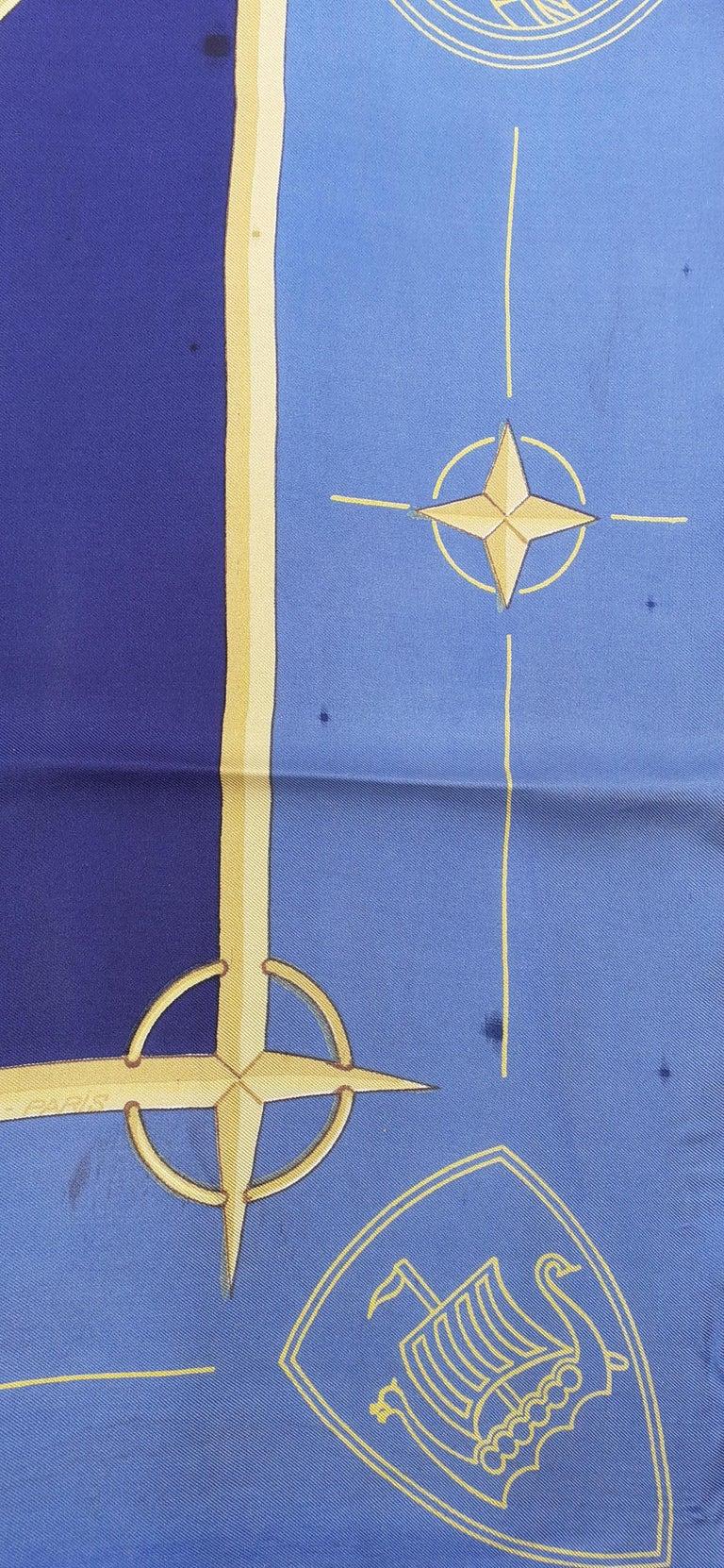 Exceptional Hermès Vintage Silk Scarf OTAN NATO Hugo Grygkar 1956 RARE For Sale 7