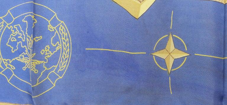 Exceptional Hermès Vintage Silk Scarf OTAN NATO Hugo Grygkar 1956 RARE For Sale 8