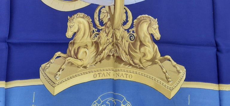 Blue Exceptional Hermès Vintage Silk Scarf OTAN NATO Hugo Grygkar 1956 RARE For Sale