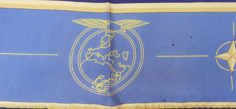 Exceptional Hermès Vintage Silk Scarf OTAN NATO Hugo Grygkar 1956 RARE For Sale 3