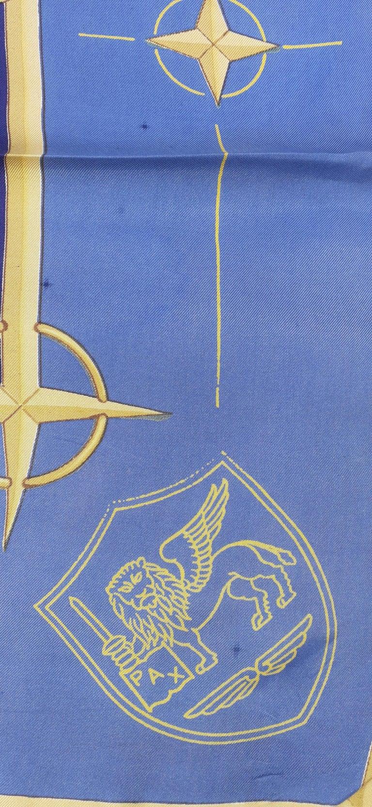 Exceptional Hermès Vintage Silk Scarf OTAN NATO Hugo Grygkar 1956 RARE For Sale 4